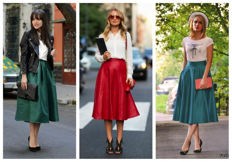 юбка средней длины для девушек фото