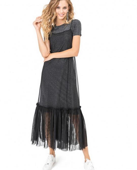 Черное платье с воланом Kiara