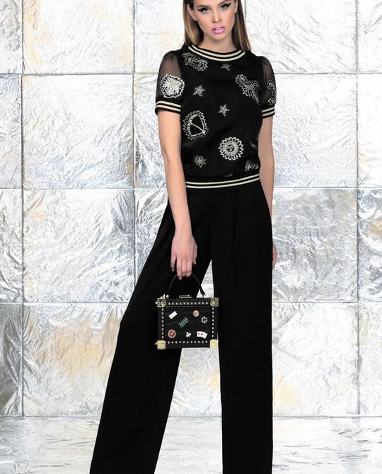 Черная блуза с вышивкой Noche Mio