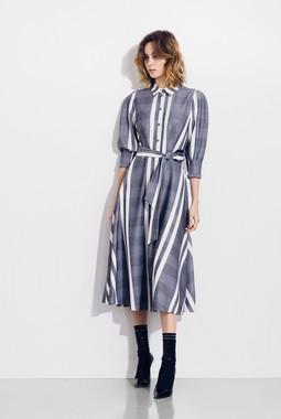 Серое платье в полоску Favorini