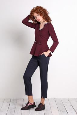 Бордовая блуза с баской NocheMio