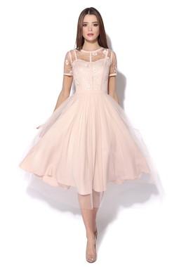 Персиковое платье с цветами CONDRA DELUXE