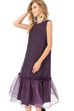Фиолетовое платье с воланом Kiara