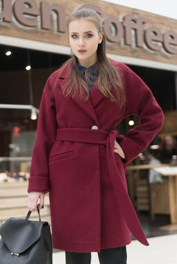 "Весеннее пальто цвета ""Бордо"" MonaStyle"