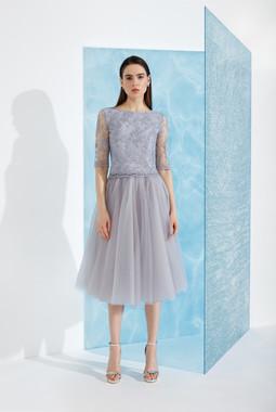 Серое платье с фатиновой юбкой EMSE