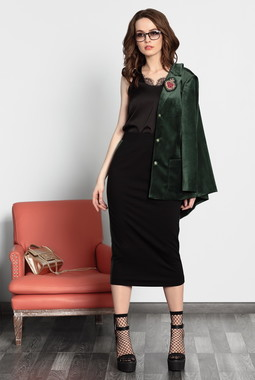 Черная блуза с кружевом Noche Mio
