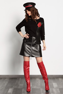 Черная кожаная юбка Noche Mio