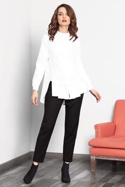 Белая расклешенная блуза с воланом Noche Mio