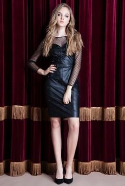 Черное кожаное платье Nova Line