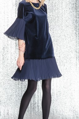 Синее платье из бархата Kiara