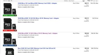 Покупка карты памяти для смартфона на ebay